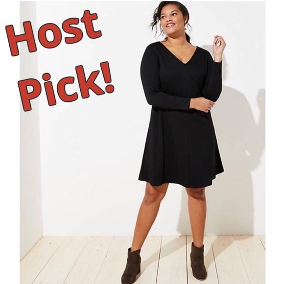 LOFT Dresses & Skirts - LOFT Plus Black Doubleface Flare Dress V-Neck NWT